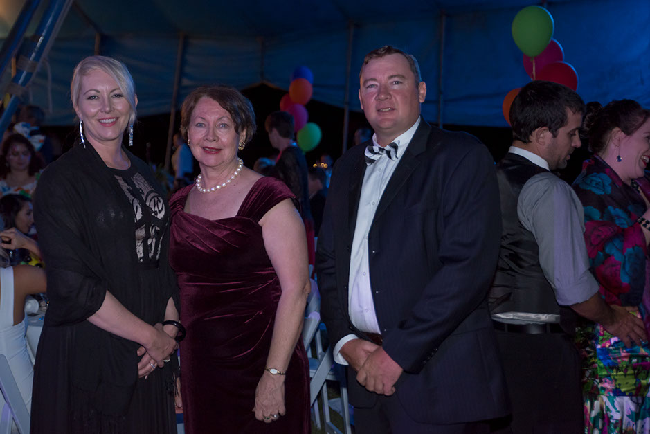 Tory, Jennie and Tom Acton attended the 2016 Black Dog Ball at Paradise Lagoons